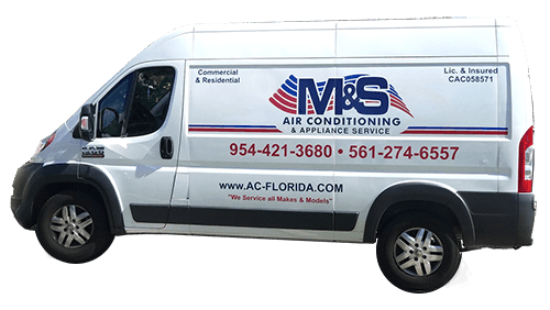 M&S Air Conditioning & Appliance Services Work Truck Palm Beach A/C Service, Sales, and Installation